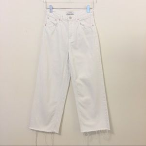 Zara Woman High Waisted White Denim Culottes